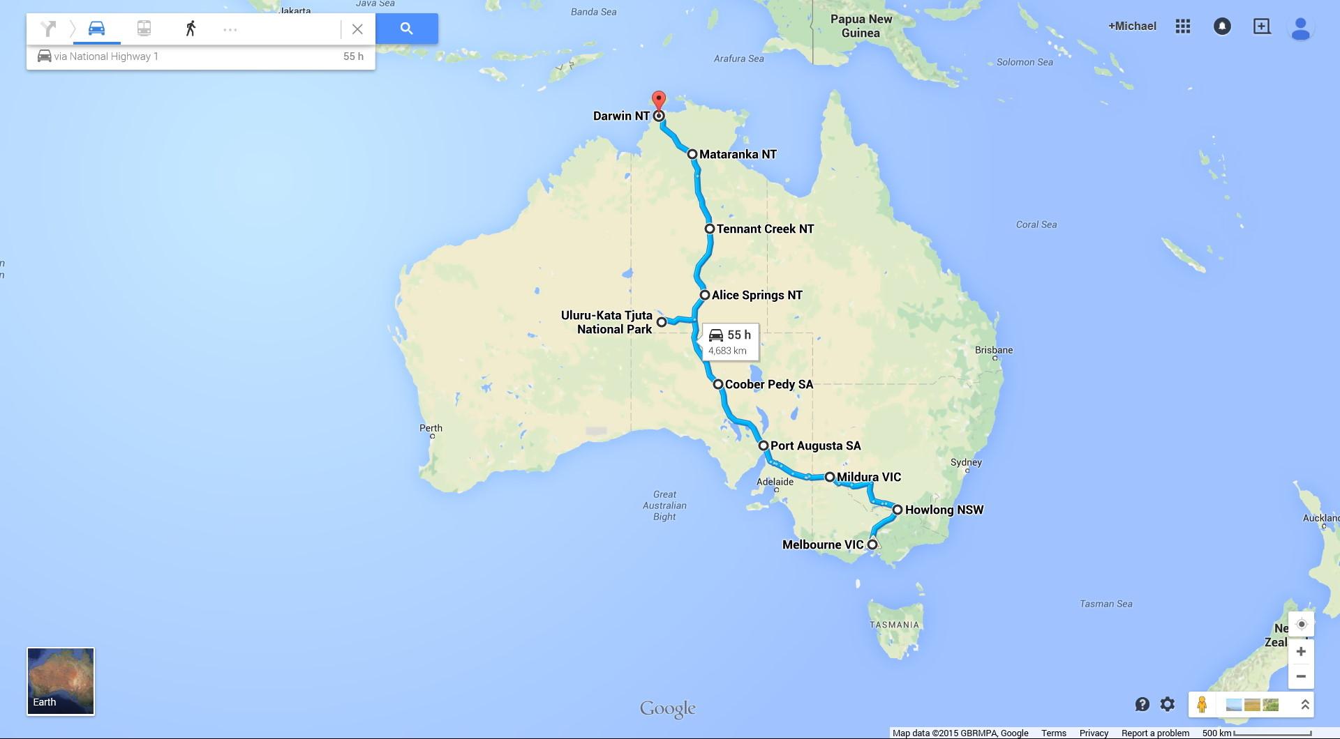 Distance between dates in Melbourne